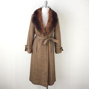 VTG coat Domino Boho XS S brown Real Fur Collar